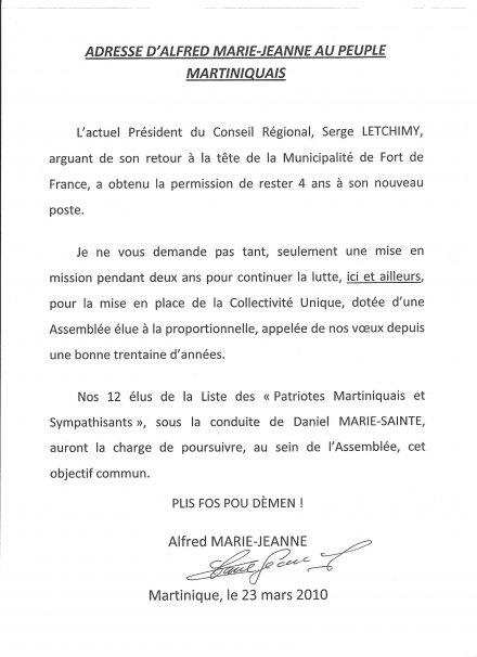 Alfred Marie-Jeanne Adresse au peuple Martiniquais