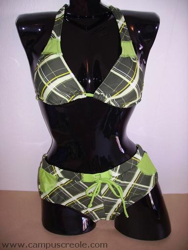 Bikini Shorty Noir et Vert
