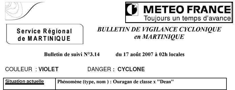 Ouragan Dean classe X par Météo France