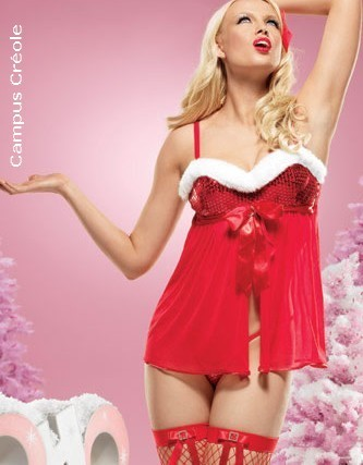 Lingerie Noël costume Mère Noël