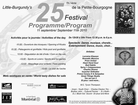 Festival Petite Bourgogne Program