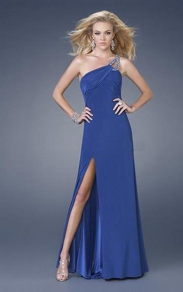 Robe de soirée 2011 Mode Bleu Roi Fendue